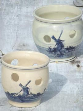 vintage hand-painted Delft pottery bulb forcing pots, fern / flower planters