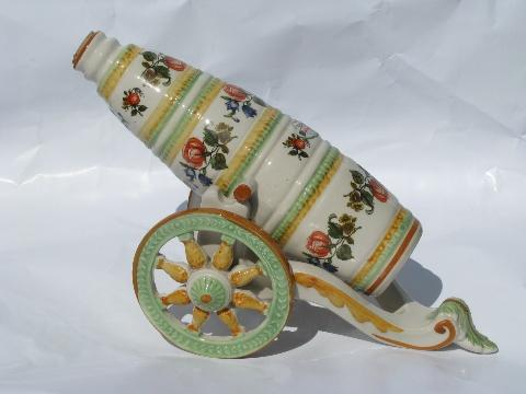 vintage hand-painted Italian ceramic wine decanter w/ carriage