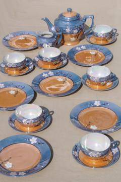 vintage hand-painted Japan cherry / plum blossom porcelain tea set, pot, cups & saucers, plates