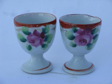 vintage hand-painted Japan chinaware, porcelain egg cups, teapot, plates