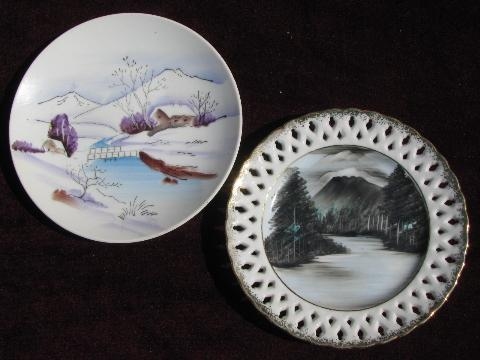 vintage hand-painted Japan plates collection, landscapes, nature scenes