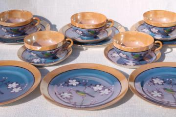vintage hand-painted Japan porcelain tea set, pot, cups & saucers, plates w/ parrots