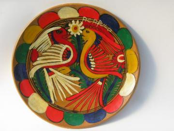 vintage hand-painted Mexican pottery from Acapulco, plate w/ bright birds