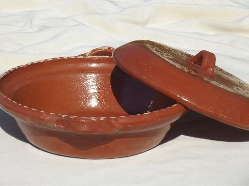 vintage hand-painted Mexican pottery, terracotta covered bowl