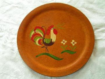 vintage hand-painted chicken round wood tray
