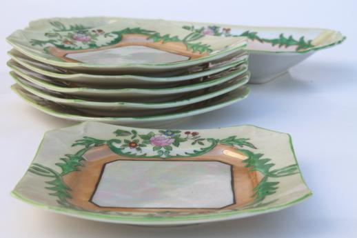 vintage hand-painted china dessert set, long torte plate tray & square cake plates Made in Japan