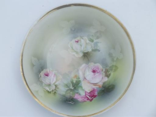 vintage hand-painted china plates & bowl, pink roses floral painted porcelain