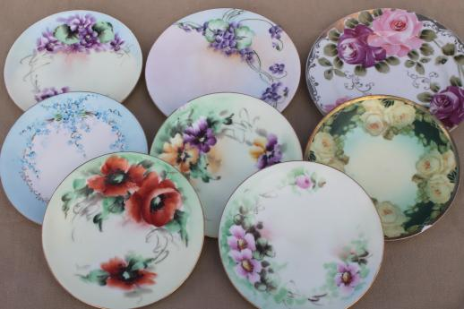 vintage hand-painted china plates with flowers pretty floral dishes for wedding tea party & vintage hand-painted china plates with flowers pretty floral dishes ...