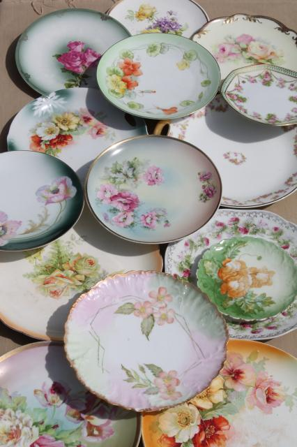 Vintage Hand Painted China Plates With Flowers Pretty