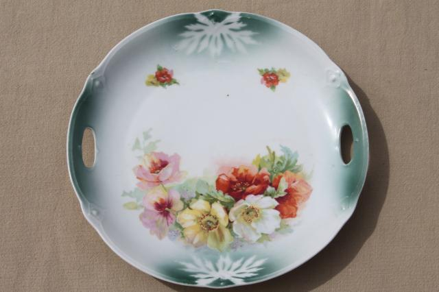 vintage hand-painted china plates with flowers, pretty floral dishes for wedding, tea party