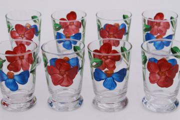 vintage hand-painted flowers juice glasses, Libbey Gay Fad Studios or Blue Ridge