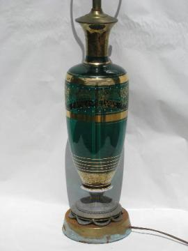 vintage hand-painted gilt Venetian art glass lamp, shabby metal stand