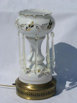 vintage hand-painted glass mantle or banquet lamp, french white & gold, long prism lusters