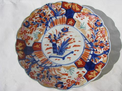 Vintage Hand Painted Imari China Dish Large Low Bowl Or