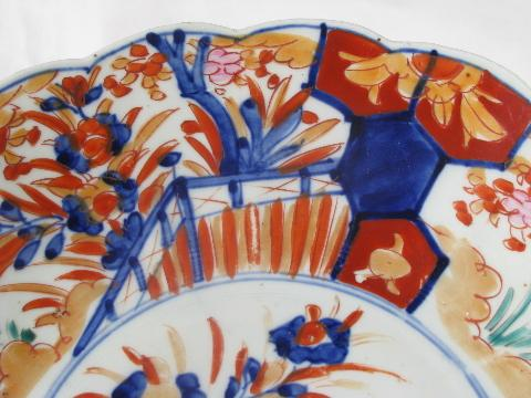 & vintage hand-painted imari china dish - large low bowl or charger plate