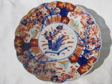 vintage hand-painted imari china dish - large low bowl or charger plate