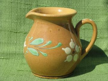 vintage hand-painted milk pitcher, stoneware pottery w/ S bar mark