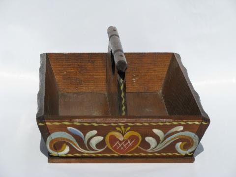vintage hand-painted pine wood knife, silverware, or flatware box tray