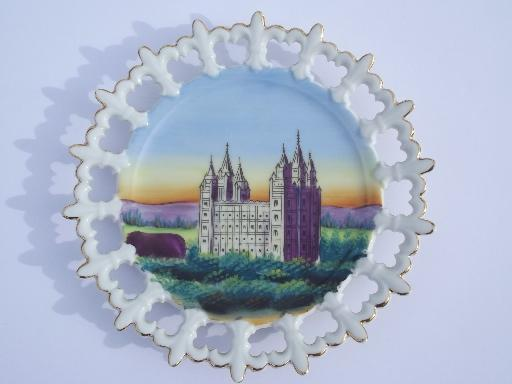 vintage handpainted plate w/ the Mormon Temple, ribbon china wall hanger