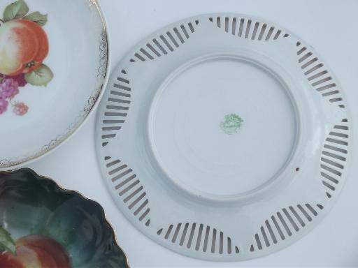 vintage hand-painted plates, old antique painted fruit plates collection