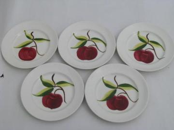 vintage hand-painted pottery plates, 1940s Heritage Ware, red apples