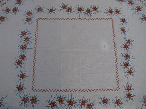 vintage hand-printed cotton kitchen tablecloth, Mexican theme