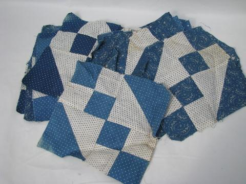 vintage hand-stitched quilt blocks, antique blue and white cotton print fabric
