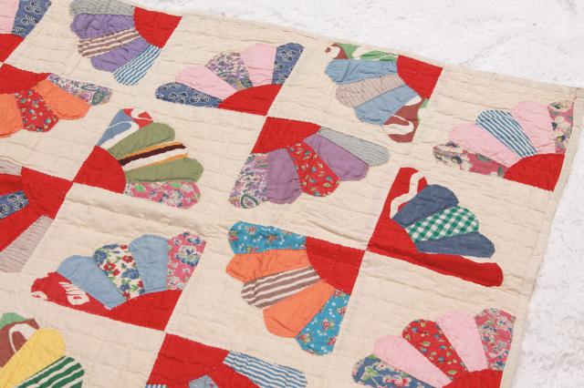 Vintage Hand Stitched Quilt Cotton Prints Feedsack Fabric