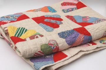 vintage hand-stitched quilt, cotton prints & feedsack fabric patchwork fan pattern blocks