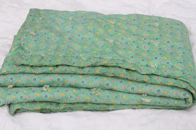 vintage hand-tied cotton print wholecloth quilt, soft puffy wool ... : cotton filled quilt - Adamdwight.com