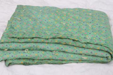vintage hand-tied cotton print wholecloth quilt, soft puffy wool filled 'eiderdown' comforter