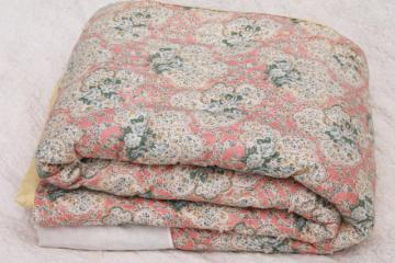 vintage hand-tied quilt comforter, shabby chic floral puffy wool filled eiderdown
