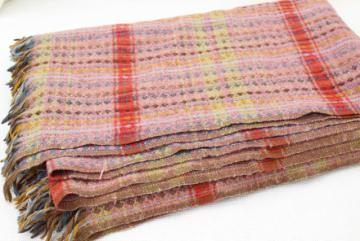 vintage handwoven wool blanket, multi-colored fringed throw Amana colonies