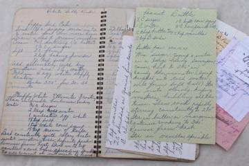 vintage hand-written recipes, handmade family cookbook 1940s - early 50s