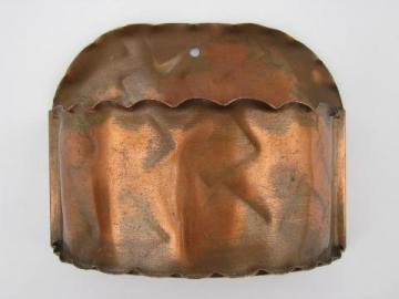vintage hand-wrought solid copper wall pocket