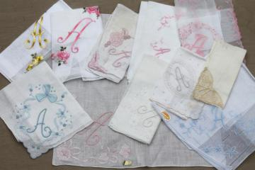 vintage hankies w/ embroidered A monogram, lot of fine cotton & linen handkerchiefs