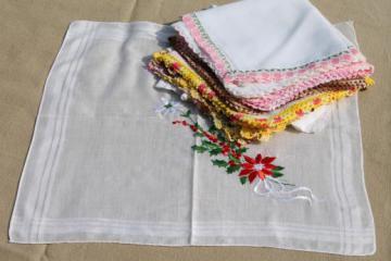 vintage hankies w/ embroidery & crochet lace, fancy vintage handkerchiefs lot