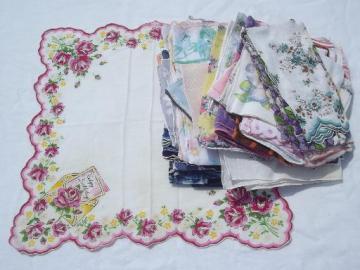 vintage hankies lot 45 print cotton handkerchiefs, kitties, flowers!