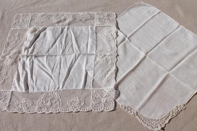 vintage hankies lot, embroidered & lace edged handkerchiefs in cedar wood hanky box