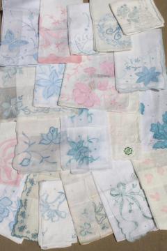 vintage hankies lot, fine cotton & linen handkerchiefs Madeira style embroidery