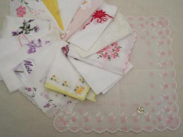 vintage hankies lot, fine cotton & linen handkerchiefs w/ Swiss embroidery