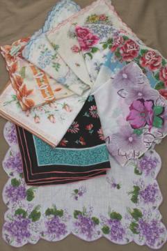 vintage hankies lot, print cotton & linen hankerchiefs w/ flowers & signed designer prints