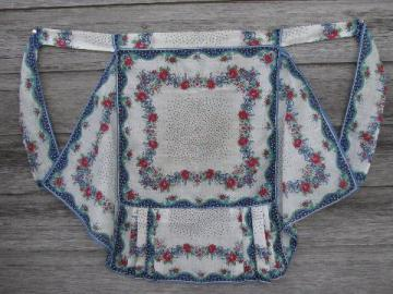 vintage hanky apron, flowered cotton print hankies w/handkerchief hem