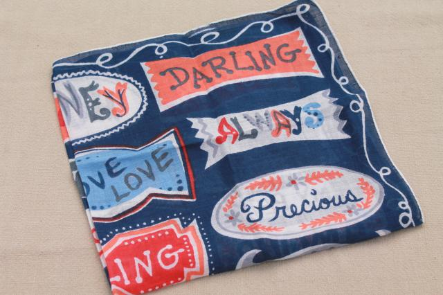 vintage hanky, signs of love retro typography printed cotton handkerchief