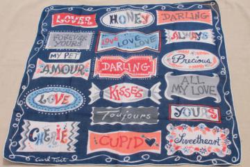 vintage hanky, signs of love retro typography printed cotton handkerchief