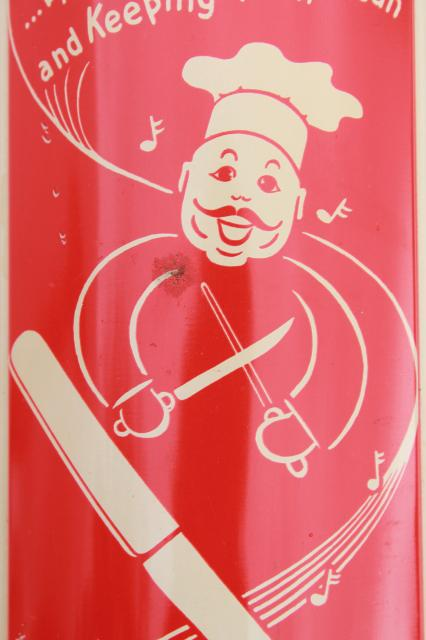 vintage happy chef kitchen knife holder, retro red & white wall mount rack for knives