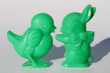 vintage hard plastic Easter bunny & chick novelty toys or prizes, cute retro decorations