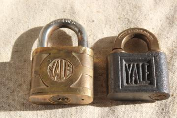 vintage hardware, antique steel / brass padlocks, old Yale locks without keys