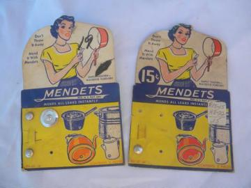 vintage hardware cards w/advertising graphics, Mendets for pot repair