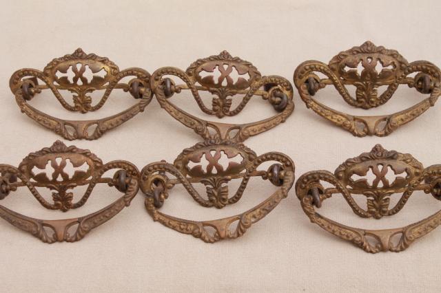 vintage hardware lot ornate antique brass drawer pull handles set